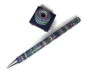 Pen Set, Rainbow Pen, Pen Set Blue, Pen and Stand Set, Blue Stripes Pen, Striped Pen Set, Rainbow Striped Pen, Refillable Pen, Polymer Pen