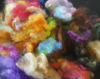 Wool fiber grab bag spinning felting 3 oz.