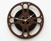 Movie Lover Clock, Unique Wall Clock, Film Reel Wall Clock,  Filmmaker Gift, Theater Decor, Photographer gift,  Steampunk Wall Clock