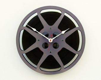 16 mm Film Reel Wall Clock, Movie Lover Clock, Theater Decor, Steampunk Wall Clock, Filmmaker Gift, movie reel Clock, motion picture gift