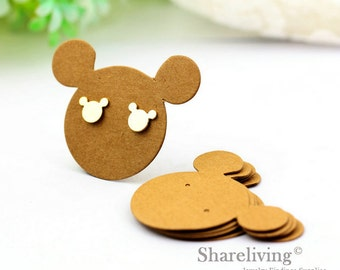 Kraft Paper Mickey Mouse shape Earring Display Tags, Earring Display Cards, Earring Holder,  Packaging, Blank Design Tag - EDC001H
