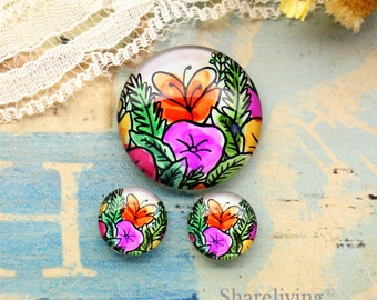 Cute  Floral Glass Domes, 8mm 10mm 12mm 14mm 16mm 18mm 20mm 25mm 30mm Photo Glass Cabochons  - RCH010P