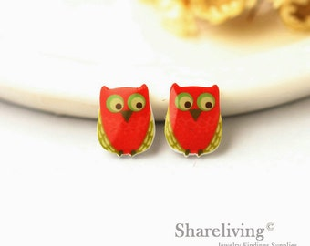 4pcs (2 pairs) Mini Cute Owl Resin Charm / Pendant,  Stud Earring, Laser Cut Tiny Red Owl Perfect for Earring / Rings - YED006B