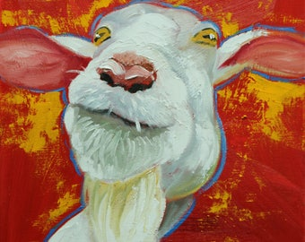 Goat portrait painting 29 12x12 inch original oil painting by Roz