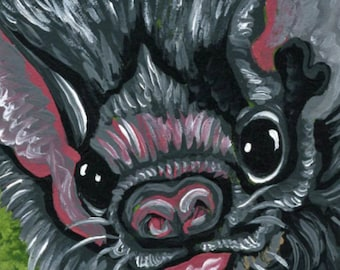 ACEO Vampire Bat Wildlife  Original Painting Art-Carla Smale