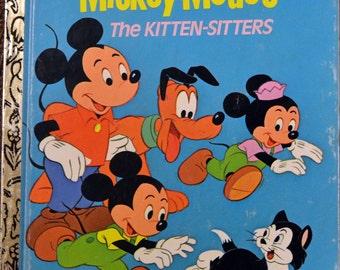 "Vintage Children's Book ""Walt Disney's Mickey Mouse The Kitten Sitters"" Little Golden Book Reading to Children"