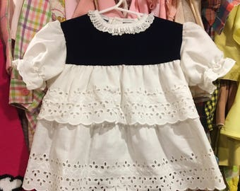 Blue Velvet and Lace Dress 2/3T