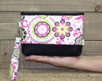 Wristlet Wallet For iPhone 7 Plus In Otterbox, Samsung Galaxy Note, S6 S7 Edge, Cell Phone Purse or Clutch / Pink Green Black