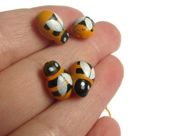Wooden Bee Cabochons Bumblebee Cabs Flat Back Cabochons Adhesive Cabochons Bee Decoden Yellow and Black Striped Scrapbooking Supplies