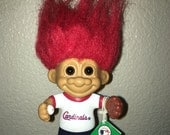 "90s Good Luck Bendable RUSS Troll for St Louis Cardinals Baseball Team with Red Hair - Once Loved Vintage Toy 5"" Tall"