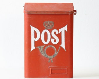 Vintage POST Mailbox, Red Mail Box with Crown