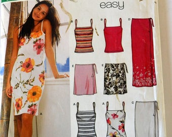 Sewing Pattern New Look 6178 Misses' Pullover Tank Top, Skirt and Dress Size 8-18 Bust 31-44 inches Complete UNCUT