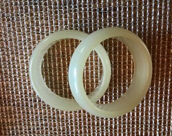 vintage opaque off white  wide bangle bracelets perfect for summer 1970s two