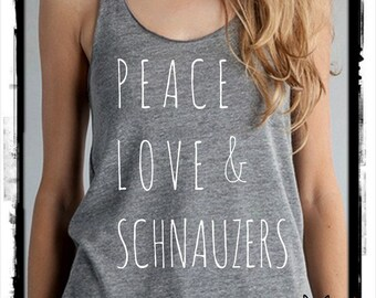 Peace Love & and SCHNAUZERS Ladies Heathered Tank Top Shirt  screenprint Alternative Apparel