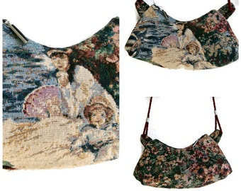Small Crossbody Purse , 1800's Summer Nautical Tapestry Cross Body Bag , Victorian Shoulder Purse  , Handbag , Gift for Her