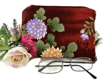 Oriental Pouch , Small Zipper Makeup Storage Bag , Floral Cosmetic Case Organizer , Maroon Purse Organizer , Gift for Her