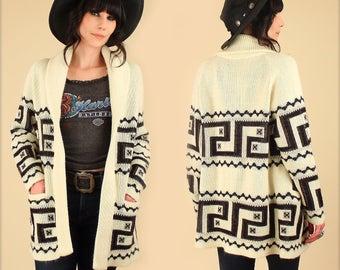 Wrap Sweater ViNtAgE 70's Cream Chunky Cardigan Bohemian HiPPiE BoHo Ethnic Tribal Aztec M/L Geo