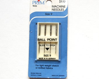 Supplies - Prym Ball Point Sewing Machine Needles, size 9
