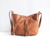 SALE / Bucket Bag in Caramel / Leather Bucket Bag / Leather Bag / Fringe Bag / Bucket Bag / Messenger Bag / Leather Tote / Brown Leather Bag