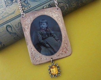 Antique Tintype Necklace Assemblage little Miss Sunny