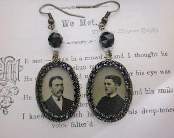 Antique Tintype Earrings with Black Rhinestones Gem Tintype Earrings