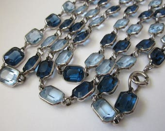 Art Deco Crystal Necklace long open back blue crystal necklace