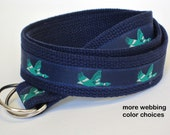 Duck Belt / Navy Canvas Belt /Khaki Men's Ribbon Belt/ D-ring Belt/ Goose Belt for Men, Boys, Big and Tall Man Belt- Green Ducks Preppy Gift