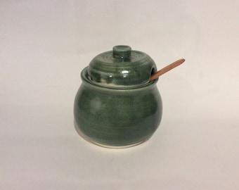 Pottery honey pot, sugar bowl, with lid, handmade, ceramic, and ready to ship