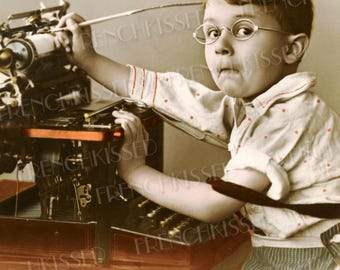 Victorian Boy at Typewriter Antique French postcard Digital Printable