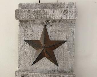 Rusty Star Wall Plaque Key Holder Decorative Hanging