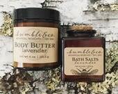 Lavender Bath + Body Set | Gift for Mom | Natural Skincare Gift | Spa Set | Botanical Skincare | Body Butter | Bathing Salt, Bridesmaid Gift