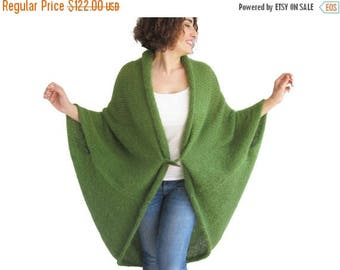 CLEARANCE 50% NEW! Plus Size Over Size Green Wool Overcoat - Poncho - Cardigan