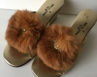 Mid Century Boudoir Shoes Gold Lamè Slippers with Fur Accents