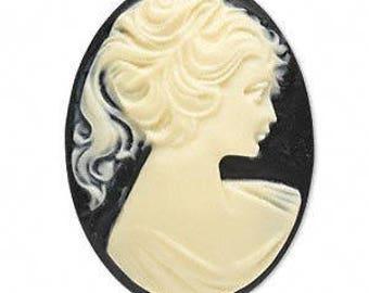Ivory and Black Acrylic Cameo Cabochon, Size 40x30MM, Cameo Cabochon, Jewelry Destash, Black and Ivory Cameo, Acrylic Cabochon