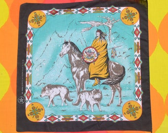 80s vintage bandana scarf NATIVE AMERICAN indian wolf dog tribal bandanna handkerchief springs
