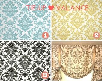 Tie Up Window Valance - Sash Valance - Rod Pocket Cecilia or Traditions Storm Twill Premier Prints Fabric - Shadow Black - Blue - Yellow