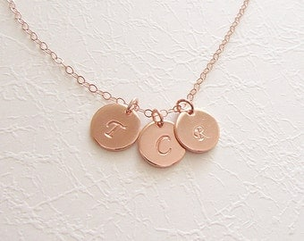 Rose Gold hand stamped initial necklace, Rose gold stamped coin necklace, personalized initial necklace