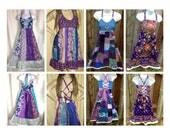 Grateful Dead Short Dress, Hippie Patchwork Dress, Festival Dress, Grateful Dead sun dress,dancing bear dress,Steal your face,custom