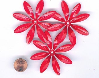 3 Large Fire Engine Red Vintage Enameled Metal Flower 2-5/8th Inches