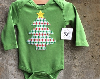 Holiday Tree with Star baby bodysuit for Boys or Girls - Very Limited Supply - Discounted and Ready to Ship - Great Christmas Photo Onesie
