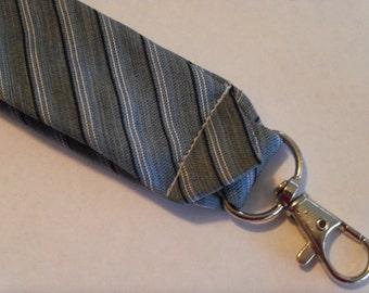 "Recycled Necktie 4"" Key Fob Gray Stripes"
