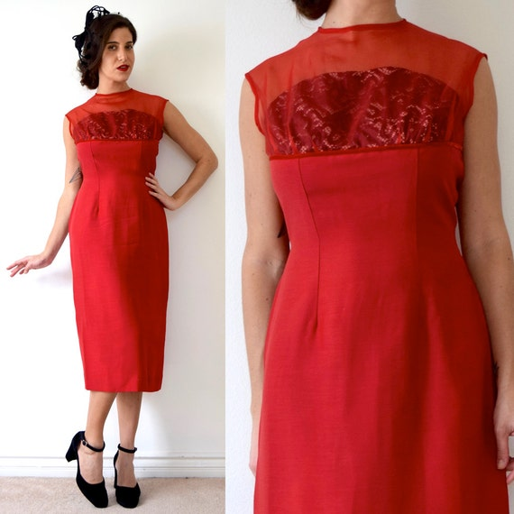 SUMMER SALE / 20% off Vintage 60s Siren Red Cocktail Dress with Built in Black Lace Strapless Bra (size medium)