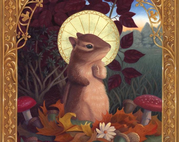 Chipmunk Saint Angel Animal Painting Art Original Illustration Whimsical Nature Ornate Decorative