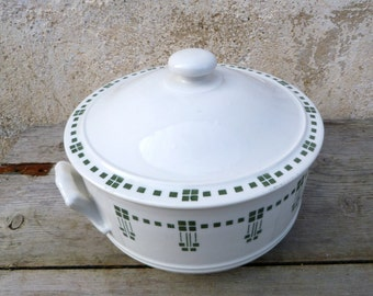 Vintage Antique 1930 French  Art deco geometric design ceramica soup tureen