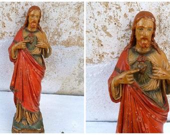 Vintage Antique 1930s French Jesus Sacred heart of Jesus  plaster polychrome statue