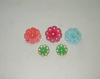 5 Vintage Floral Flower Pin Brooch Rhinestone Colorful Plastic 12956