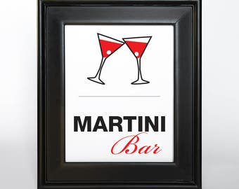 Martini Bar Printable Sign Instant Gift Wedding Shower Bridal Home Decor Party DIY Digital File PDF Mad Fifties Red Black Madly