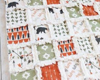 Woodland Bedding - Bear Quilt - Arrow Quilt - Aztec Quilt - Woodland Quilt - Gender Neutral Bedding - Gender Neutral Quilt - Baby Gift
