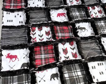 Woodland Plaid Quilt - Moose Quilt - Bear Quilt - Arrow Quilt - Red and Black Plaid- Baby Boy Quilt - Baby Boy Bedding - Last Minute Gift