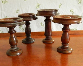 4 French Furniture Ornaments. Antique Wood Finials. Architectural Salvage. Small Wood Newel Posts.